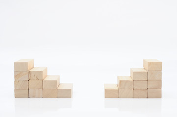 Wooden block steps for web background, business concept.