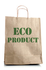 Paper bag with eco products isolated on white