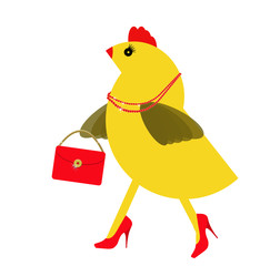 Spring chicken character with bling, handbag. Fun hen.