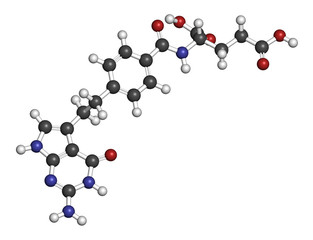Pemetrexed lung cancer drug molecule.