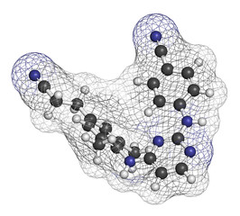 Rilpivirine HIV drug molecule. Atoms are represented as spheres