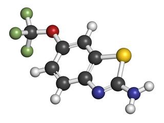Riluzole amyotrophic lateral sclerosis (ALS) drug molecule.
