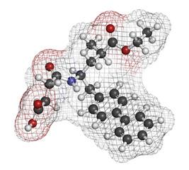 Sacubitril hypertension drug molecule.