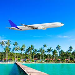 Plane fly over ocean