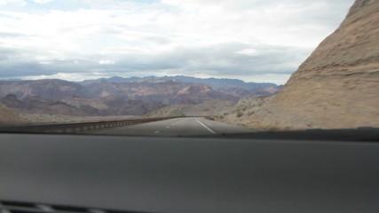 Nevada Roadside Through Car Window