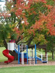 Park with red, white, & blue, playground in autumn