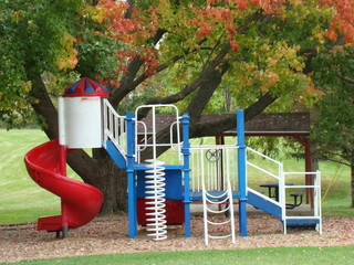 Park with playground in autumn