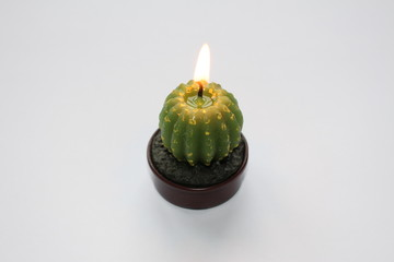 A green cactus-shaped ablaze candle