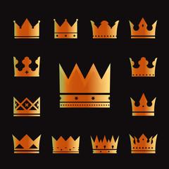set of vector golden crowns
