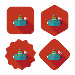 Submarine flat icon with long shadow,eps10