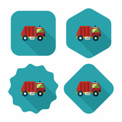 Transportation Garbage truck flat icon with long shadow,eps10