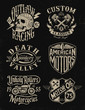 One color vintage motorcycle graphic set - 75320165