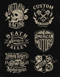 One color vintage motorcycle graphic set poster