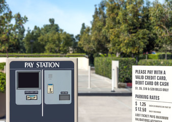 Suburban parking lot exit pay station