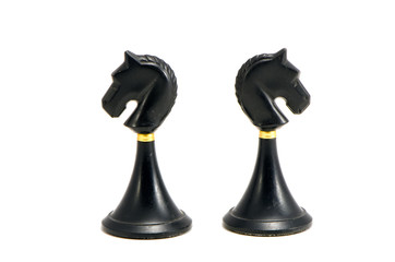 two black horse chess isolated on white background