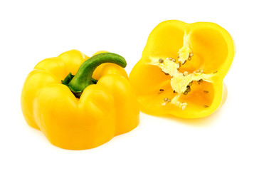 Yellow pepper isolated and cut