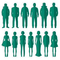 vector group of standing people silhouettes icons,