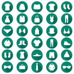 vector set clothes illustration, fashion set isolated icons