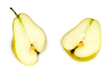 Inside of soft, tasty and juicy pear, halved, isolated on white