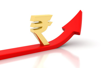 Arrow graph and  Rupee signs.