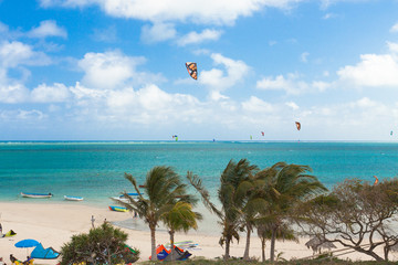 kitesurf à Mourouk, île Rodrigues, Maurice