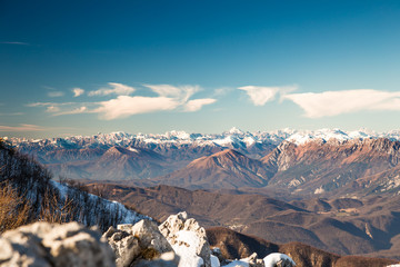 italian mountains in the winter