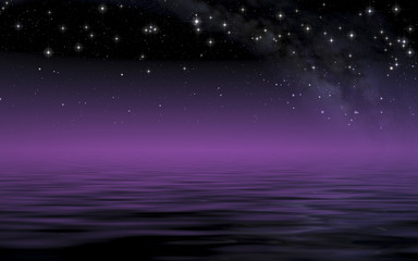 Calm sea in starry night after sunset