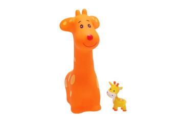 Two toy giraffe.