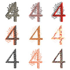 Various combination numeric figures 4.