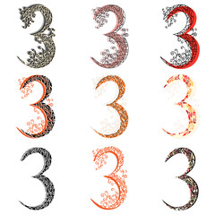 Various combination numeric figures 3.