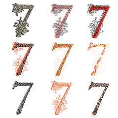 Various combination numeric figures 7.