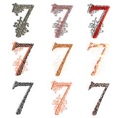 Various combination numeric figures 7.