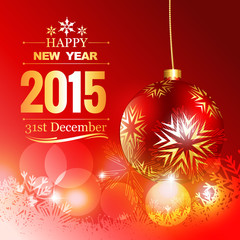 beautiful red christmas ball with happy new year wishes