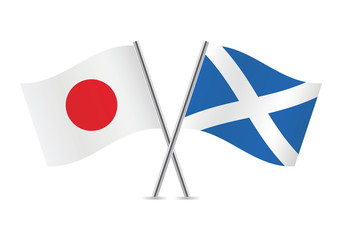 Scottish and Japanese flags. Vector illustration.