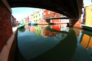 under the bridge on the island of Burano and colorful houses