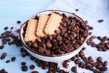 Bowl of shortbread cookies and coffee beans