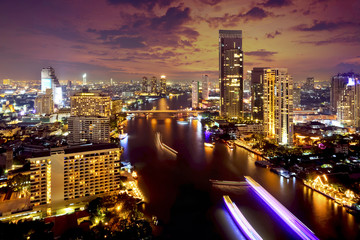 Bangkok city night view