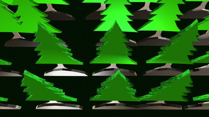 Green forest of fir trees on black