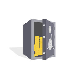 Image of open safe with gold coins. Without gradients.