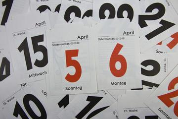 Abreißkalender, Ostern