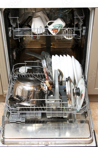 opened dishwasher with dirty dishes - 75329315