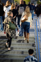 Pedestrians in stairs, tilt shift