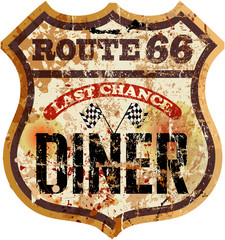 route 66 diner sign, retro style, vector illustration