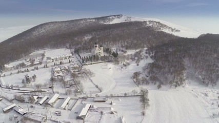 Celic Dere monastery in wintertime, aerial view