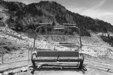 Abandoned chairlift in Whistler mountains. British Columbia. Can