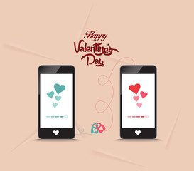 valentines onnecting hearts together by phone