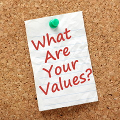 The question What Are Your Values? on a notice board