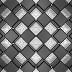 Silver flowers and black cubes mosaic