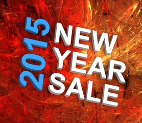 New Year Sale 2015, text on fireworks background