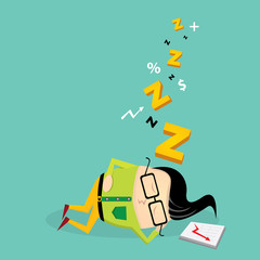 Businessman falling asleep at his work